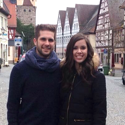 Timm Sautter, with his wife Kristin, in Germany
